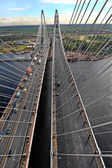Cable stayed bridge, view from above, aerial view. — Stock Photo