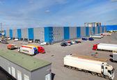 Logistics facility, storage building, loading docks — Stock Photo