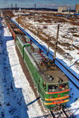 Train freight without cargo, travels by rail, Russia. — Stockfoto