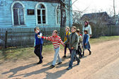 Russian pupils of rural schools, walk outdoors — Stock Photo