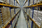 Interior of a large warehouse, with pallet racking — Stock fotografie