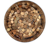 Pile Russian copper coins in a round tin box — Stockfoto