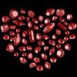 Heart from red diamonds — Stock Photo