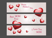Mothers day banner with shiny hearts — Stock Vector
