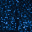 St. Valentine's Day blue heart bokeh background — Zdjęcie stockowe