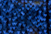St. Valentine's Day blue heart bokeh background — Stock Photo