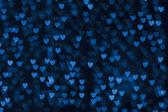 St. Valentine's Day blue heart bokeh background — Stock Photo