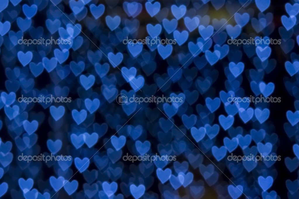 St. Valentine's Day blue heart bokeh background, place for text — Stock Photo #19768321