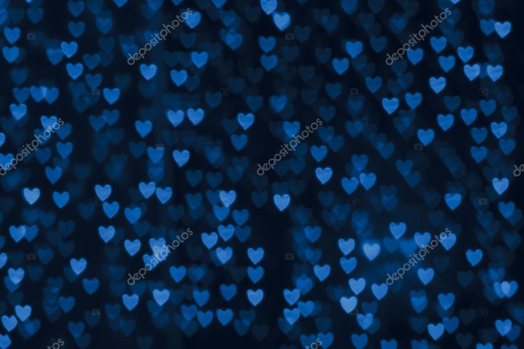 St. Valentine's Day blue heart bokeh background, place for text — Stock Photo #19768437