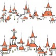 Seamless pattern with fairy tale town - Stock Vector