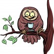 Owl with cup of tea or coffee - Stock Vector