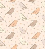 Brown seamless pattern with birds — Stock Vector