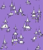 Violet seamless pattern with town — Stock Vector