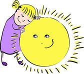 Girl hugging sun — Stock Vector