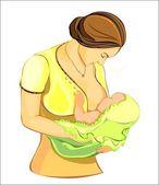 Mother feeding her baby — Stock Vector
