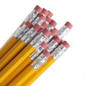 Pencils and Erasers — Stock Photo