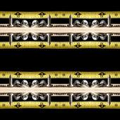 Schroeven, hout, tape maatregel — Stockfoto