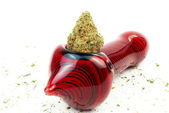 Marijuana and Pipe or Bowl, White Background — Stock Photo
