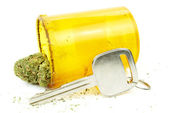 Driving Stoned, Car Key and Marijuana, High Driving Under the Influence of Cannabis — Stock Photo