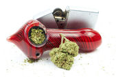 Marijuana and Pipe or Bowl, White Background — Stock Photo