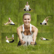Girl doing exercises outdoor — Stockfoto