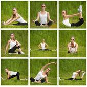 Girl doing exercises outdoor — Stock Photo
