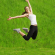The girl in a jump — Stock Photo