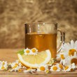 Herbal tea with chamomile and lemon — Foto Stock