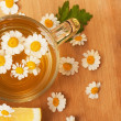 Herbal drink chamomile and lemon — Stock Photo