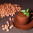 Hot chocolate with hazelnuts — Stock Photo