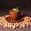 Chocolate with hazelnuts and mint — Stock Photo