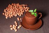 Hot chocolate with hazelnuts — Stock Photo