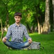 Student meditates — Stock Photo