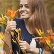 Girl in the colors of autumn — Stock Photo