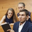 Students cheat on the exam — Stock Photo