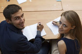 Two students turn around on camera — Stock Photo