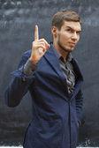 Teacher shows thumb up — Stock Photo