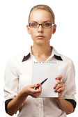 Business woman showing a blank sheet — Stock Photo