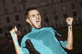 Athlete shouts — Stock Photo