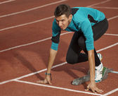 Athlete getting ready for the race — Stock Photo