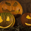 Three pumpkins on Halloween — Stock Photo