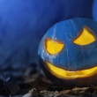 Evil pumpkin by moonlight — Stock Photo