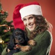 Pretty girl with puppy — Stockfoto #32749407