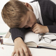 Boy fell asleep on textbooks — Stock Photo