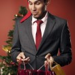Man surprised gifts — Stock Photo