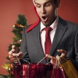 Man dressed as Santa surprised — Stock Photo