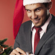 Man waiting for Christmas — Stockfoto