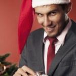Man waiting for Christmas — Stock Photo