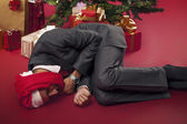 Sleeping worker after the holiday — Stock Photo