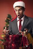Man klädd som santa förvånad — Stockfoto